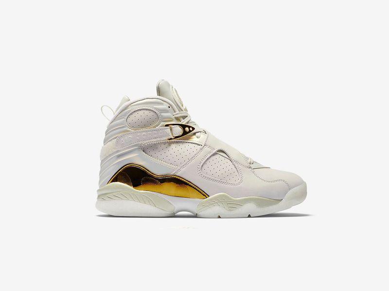 Jordan 8 Blanco Con Dorado